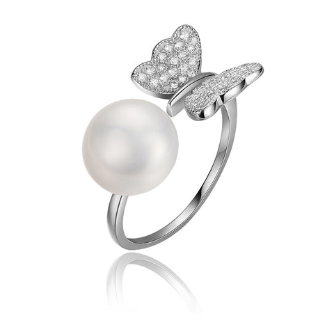 925 Sterling Silver Adjustable Natural White Pearl Butterfly Ring