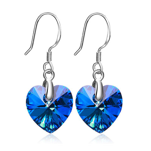 925 Sterling Silver Blue Austrian Crystal Earrings