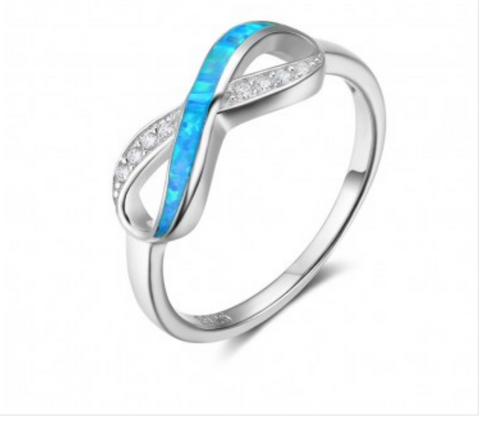 925 Sterling Silver Twisted Blue Opal Bow Ring