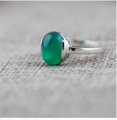 925 Sterling Silver Natural Agate Ring