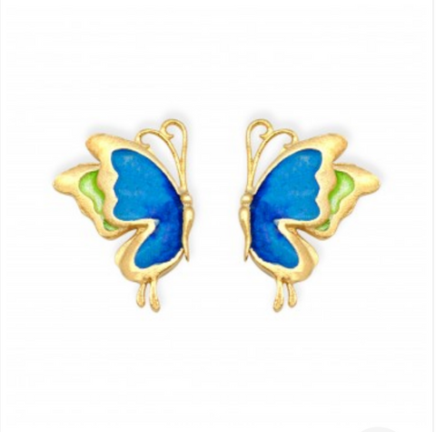 925 Sterling Silver Blue Butterfly Vogue Enamel Stud Earrings