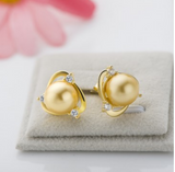 925 Sterling Silver Triangle Round Shell Pearl Earrings