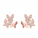 925 Sterling Silver Rose Gold Flying Butterfly CZ Stud Earrings
