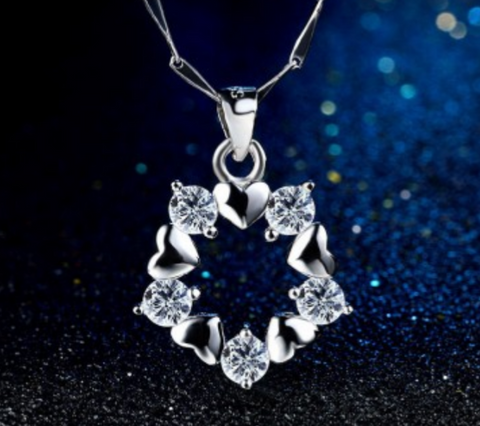 925 Sterling Silver Trendy Heart CZ Pendant Necklace