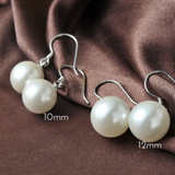 925 Sterling Silver Elegant Pearl Dangle Earrings