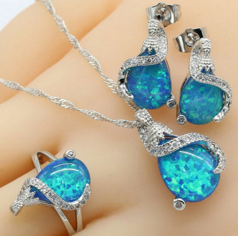 Trendy S925 Blue Fire Opal Jewelry Set