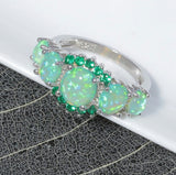 S925 Sterling Silver Bohemian Green Opal Ring