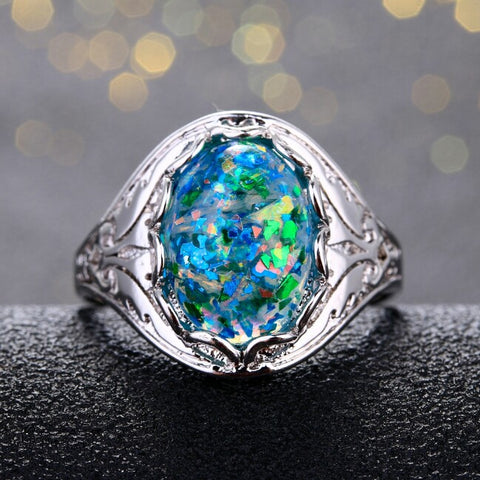 S925 Sterling Silver Opal Ring
