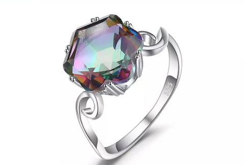 S925 Sterling Silver Trendy Mystic Topaz Party Ring