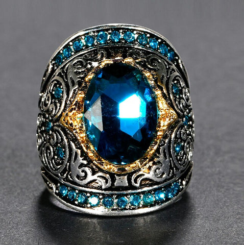 925 Sterling Silver Aquamarine Zircon Vintage Cocktail Ring