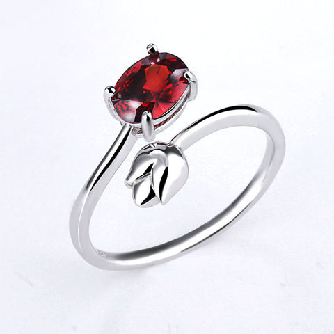 925 Sterling Silver Adjustable CZ Rose Ring
