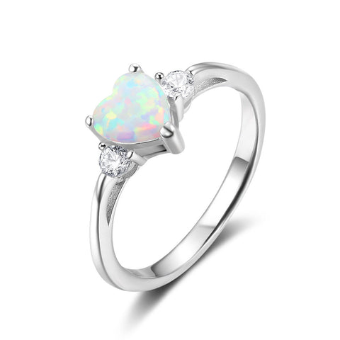 925 Sterling Silver Simple Created Opal Heart Ring