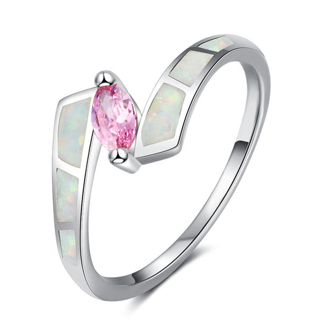 925 Sterling Silver Trendy Created Opal Pink CZ Ring
