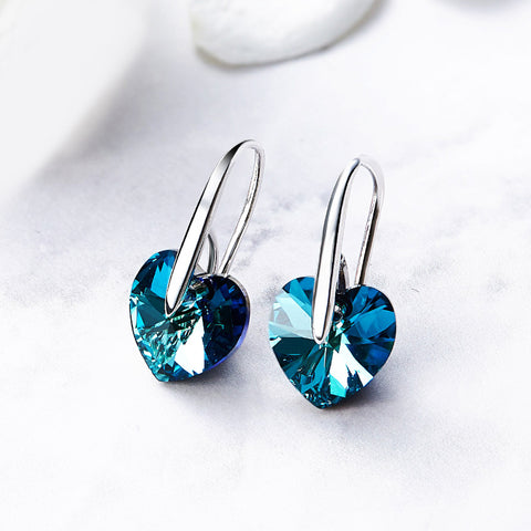 S925 Sterling Silver Austrian Crystal Love Earrings