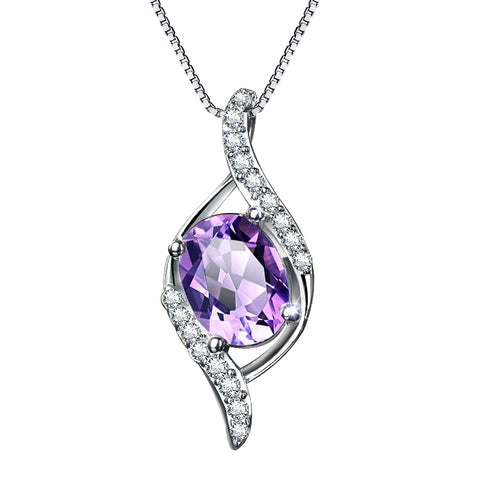 925 Sterling Silver Purple CZ Wave Pendant Necklace