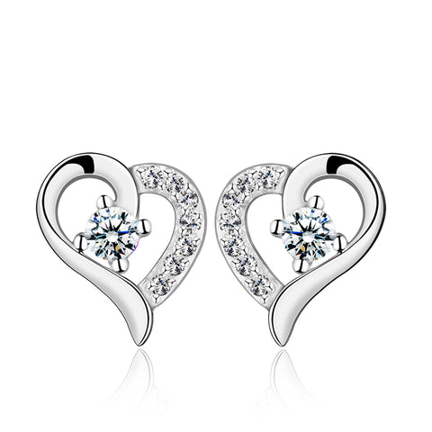 925 Sterling Silver Love Heart CZ Stud Earring