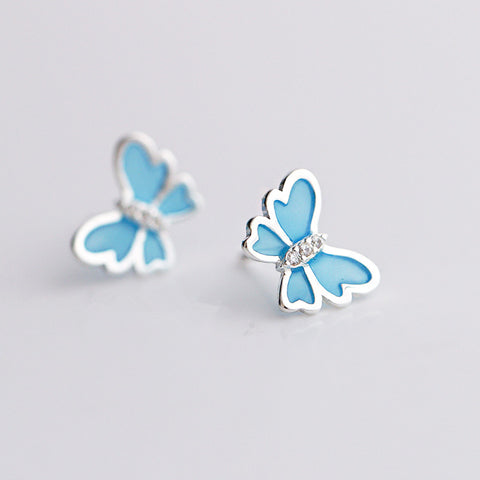 S925 Sterling Silver Blue Enamel Butterfly Earrings