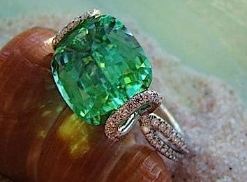 Sea Glass Tourmaline and Diamond Micro-pave ring