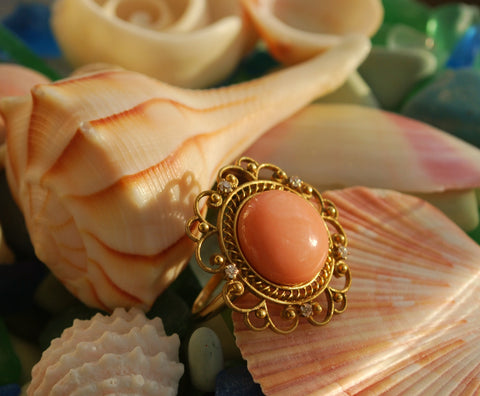 Angel Skin Coral, Diamond and 18kt Yellow Gold Victorian Ring
