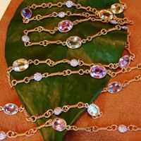 Multi-colored Sapphire and Diamond long necklace