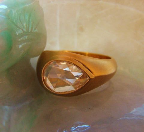 Pear Shape Diamond and Yellow Gold Ring