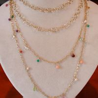 Long gold chain necklaces with colorful Gemstones