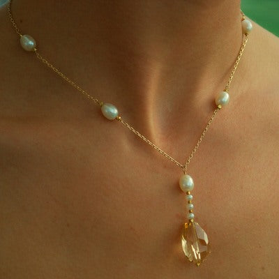 Citrine, Pearl & Yellow Gold Necklace