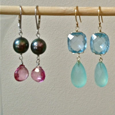 Colorful Semi-Precious Stone and 18 kt yellow gold Earrings