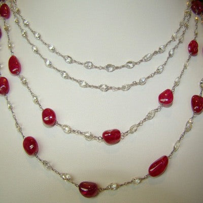 Diamond Briolette & Ruby Jelly Bean Necklace