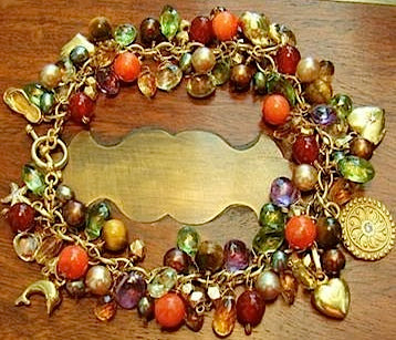 Multi-Colored Gemstone & Yellow Gold Charm Bracelet