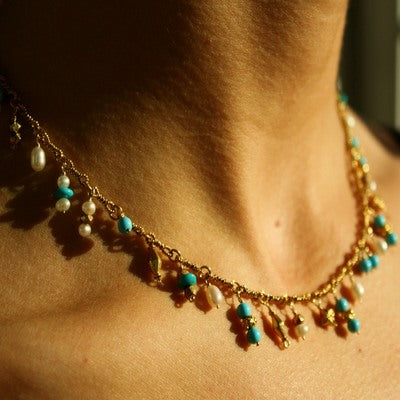 18k Gold Bead, Turquoise & Pearl Necklace