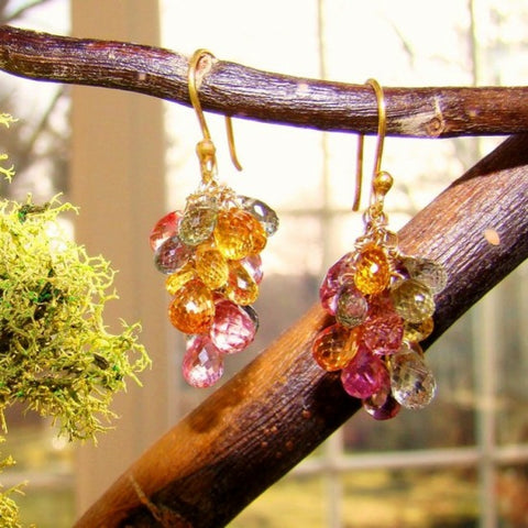 Multi-Colored Sapphire Earrings