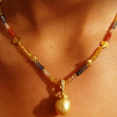 Multi-Colored Sapphire & Golden Pearl Necklace