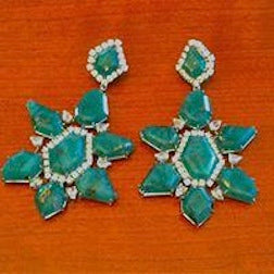 Sliced Emerald and Diamond earrings