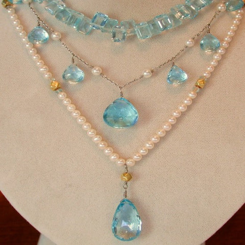 Blue Topaz and Pearl Necklaces