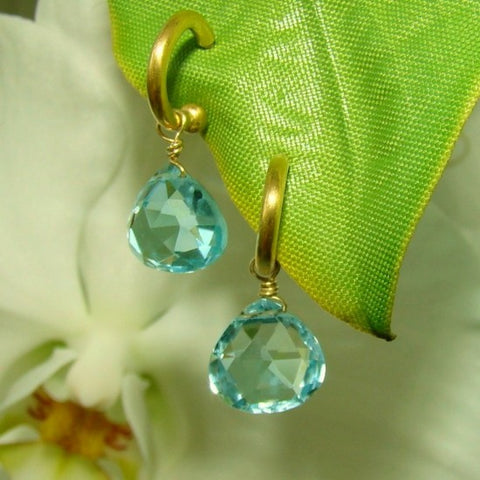18kt Yellow Gold Hoops and Blue Topaz Detachable Drops