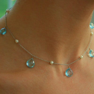 Blue Topaz & Pearl White Gold Necklace