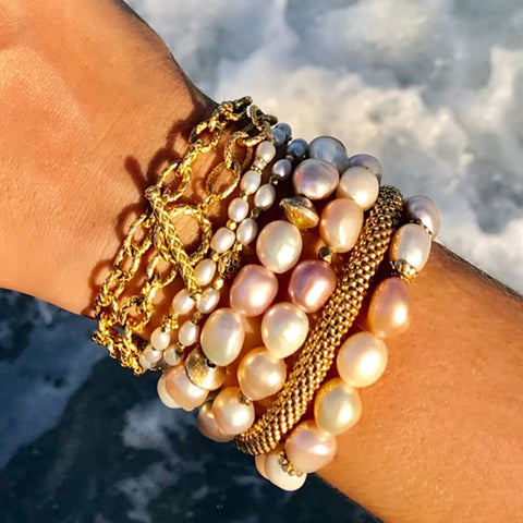 Pearl and Gold bracelets