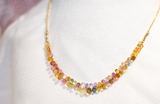 Multi-colored Sapphire briolette & Gold Necklace