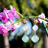 Diamond, Chalcedony and Moonstone Earrings