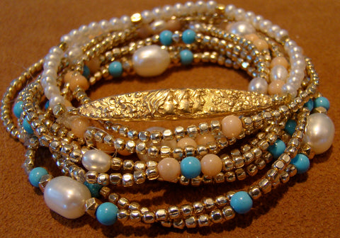 Pearl, Turquoise  and Gold bead Bracelets