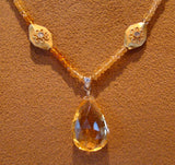 Citrine Briolette Drop from a Diamond Yellow gold Bead and Citrine Necklace