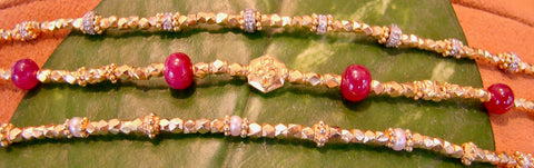 Yellow gold and Ruby Bead Bracelets