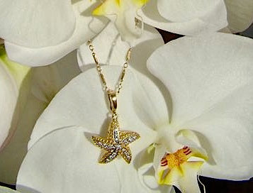 Diamond and Yellow Gold Star Fish Necklace