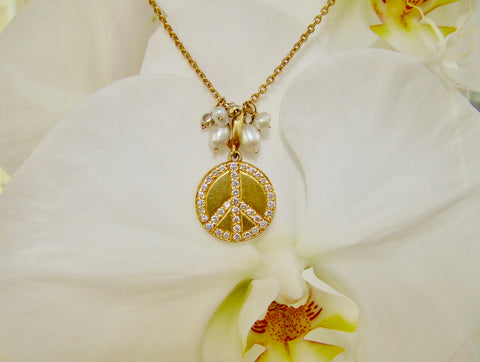 Diamond and Yellow Gold Peace sign Necklace