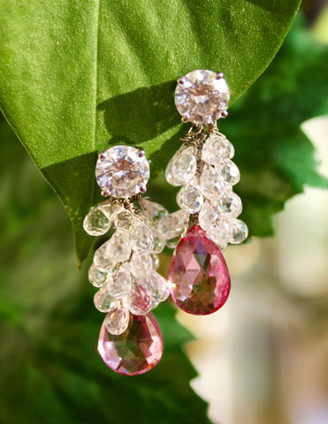 White topaz and pink tourmaline drops