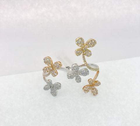 Diamond & Gold Flower Ring