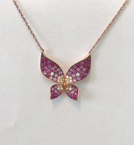 Pink Sapphire Butterfly Necklace