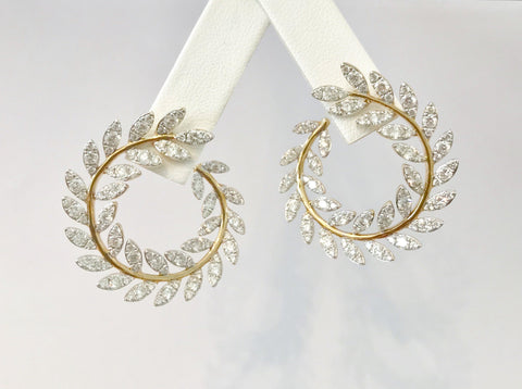 Diamond and Gold Leaf Hoop Earrings