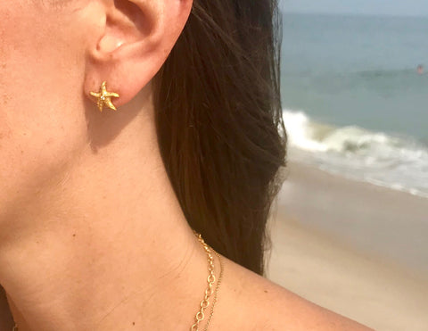 Star Fish Diamond Yellow Gold Earrings